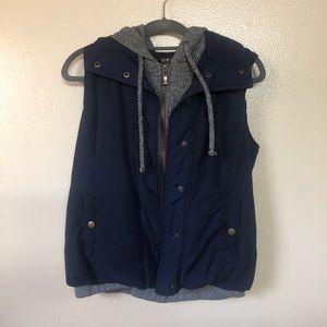 Navy Blue & Heather Gray Puffer Vest
